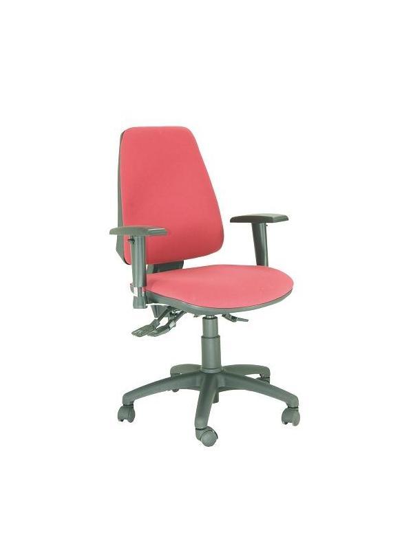 Silla de oficina - Silla de oficina Tapizada con relleno en goma flexible.  Mecanismo syncro posiciones.  Respaldo regulable en altura. Brazos opcionales.