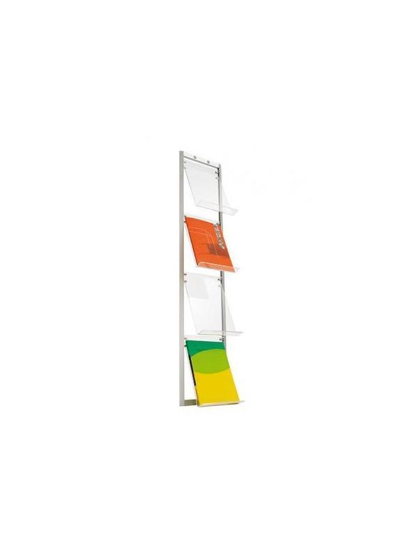 Expositor para revistas y catálogos - Expositor revistas y catálogos -Versión mural /pared -Fabricado en aluminio y estantes de metacrilato. -Estructura es desmontable. -4 estantes Media: 120cm x 26,5cm x 18cm