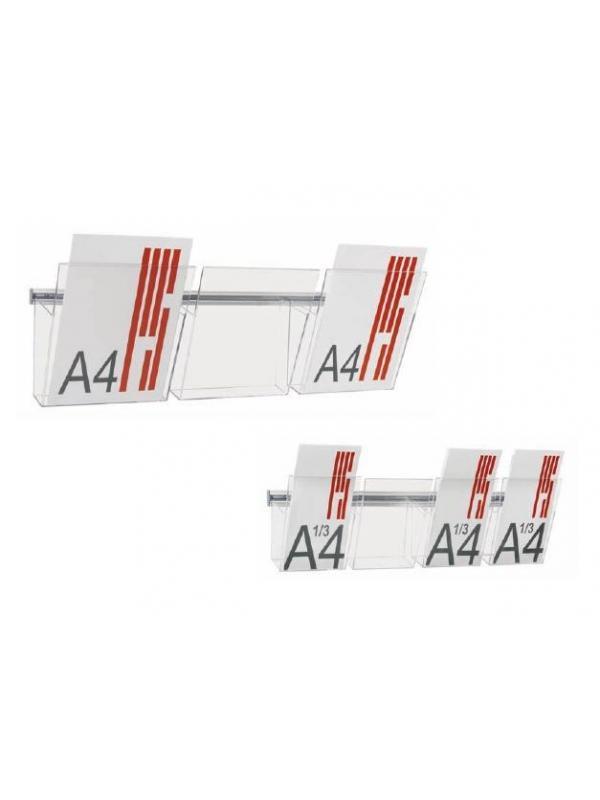 Expositores / portafolletos murales -  Expositores murales Portafolletos de metacrilato transparente Vision, A4 y 1/3 de A4 que se fijan a la pared mediante un carril de aluminio en forma de