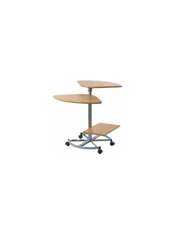 Mesa eje central con 3 estantes - Mesa eje central de dos y tres estantes cuyo diseño original nos permite trabajar ergonómicamente en un mínimo espacio. Acabado tablero.
