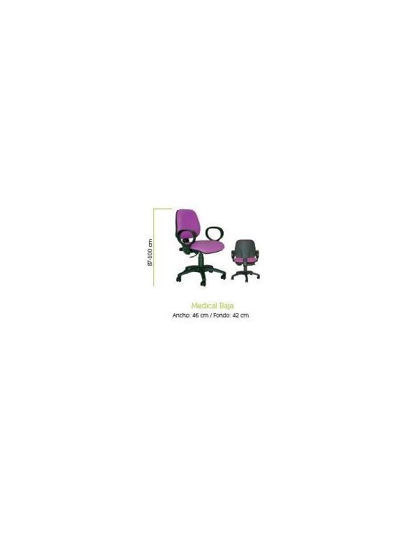 Silla de oficina - Silla operativa de oficina Mecanismo contacto permanente activado por maneta. Respaldo regulable en altura, asiento regulable en profundidad. Base en poliamida, con pistón de gas activado por botón en carcasa asiento. Brazos poliuretano