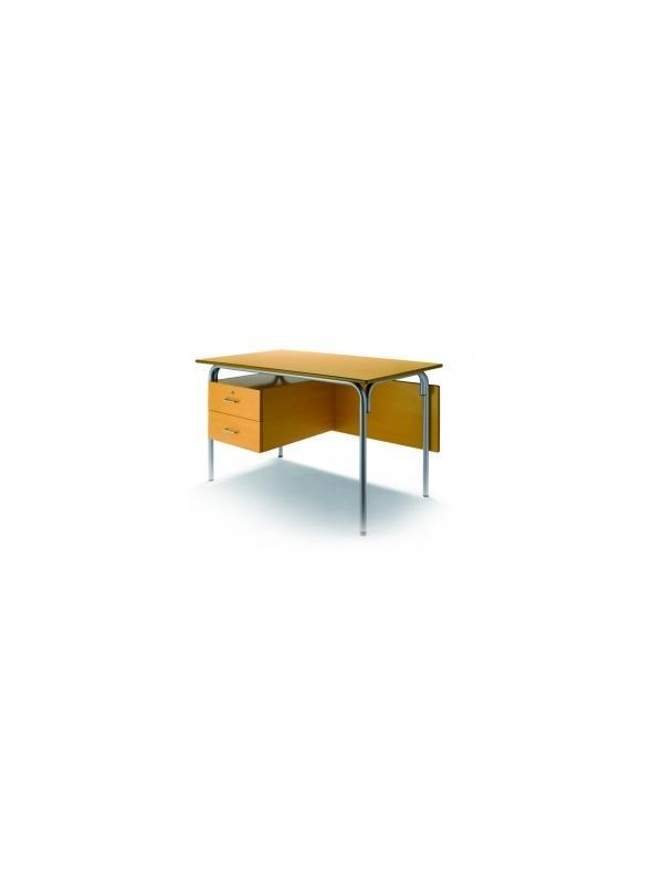 Mesa escolar con 2 cajones+faldon - Mesa escolar -Estructura en tubo de acero 30x1,2 pintado con Epoxy-poliéster negro o verde Ral 6011.  -Tapa y faldón en DM laminado con cantos redondeados barnizados con poliuretano.  -2 cajones, el superior con cerradura. -120cm x 70cm