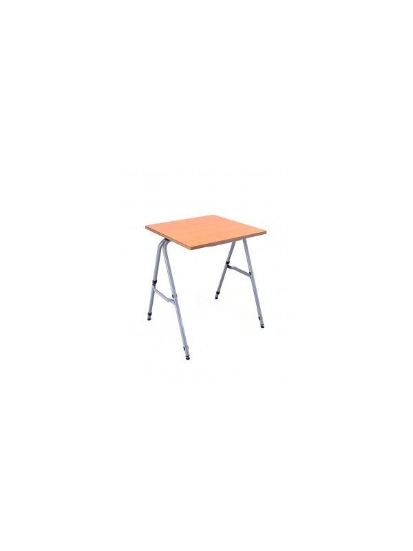 Mesa apilable escolar - Estructura en tubo de acero 25x1,5 pintada con Epoxy-poliéster gris metalizado. Tapa en DM laminado con cantos rectos barnizados con poliuretano. Equipada con sistema de enganche y con niveladores en las 4 patas. 60 x 60