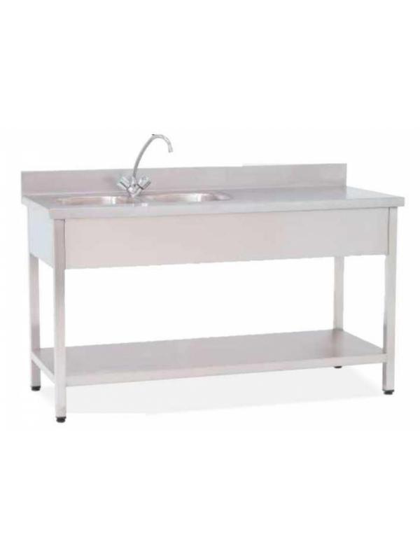 Mesa de trabajo - Mesa de trabajo. Fabricado en Acero Inox Calidad. Con patas niveladoras Planos superior e inferior lisos. Plano superior con 1 ó 2 cubetas, y zócalo