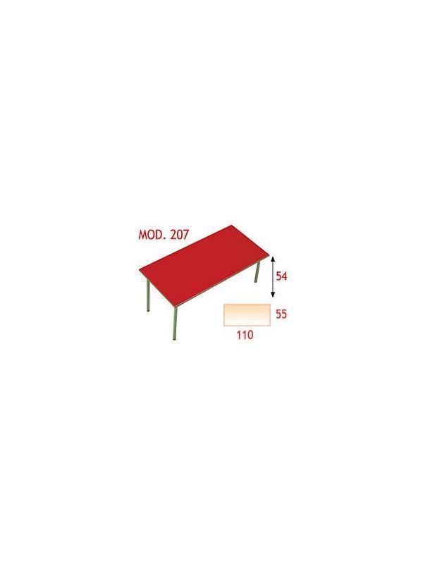 Mesa rectangular infantil - Estructura de tubo de acero 30x1,2 cromada o pintada con Epoxy-poliéster verde Ral 6011. Tapa en DM laminado con cantos redondeados barnizados con poliuretano. 120x60 otras medidas consultar