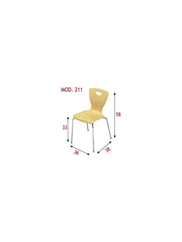 Silla apilable infantil - Estructura en tubo de acero 16x1,5 cromada. Carcasa de contrachapado de haya barnizada con poliuretano en natural. Apilable.