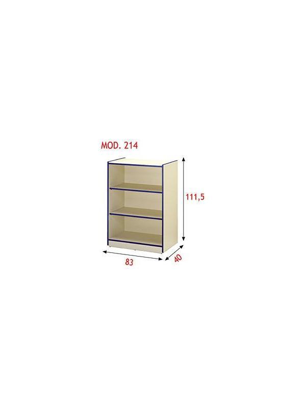 Estantería escolar - Estantería con dos baldas regulables. Realizada en aglomerado melaminado de 19 mm con cantos en PVC de 3 mm. Se puede superponer y adosar a los modelos 214, 215, 216 y 217.
