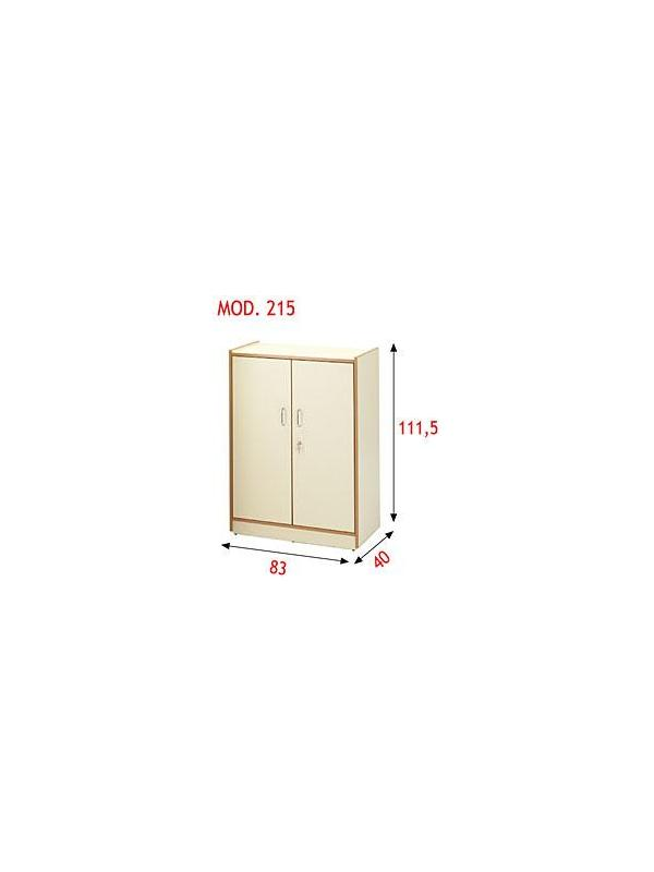 Armario con puertas - Armario con dos puertas, cerradura y dos baldas regulables. Realizado en aglomerado melaminado de 19 mm. con cantos en PVC de 3 mm. Se puede superponer y adosar a los modelos 214, 215, 216 y 217.