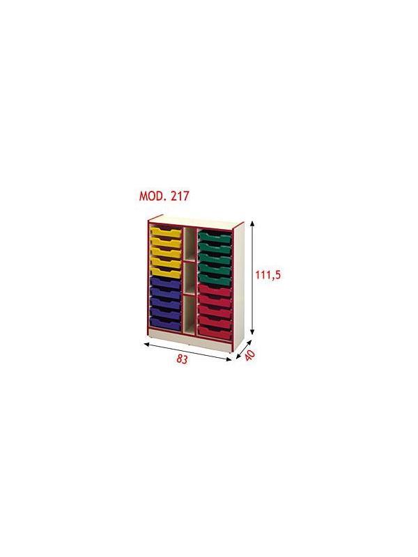 Gavetero - Gavetero con capacidad para 20 gavetas sencillas ó 10 gavetas dobles. Realizada en aglomerado melaminado de 19 mm con cantos en PVC de 3 mm. Se puede superponer y adosar a los modelos 214, 215, 216 y 217.