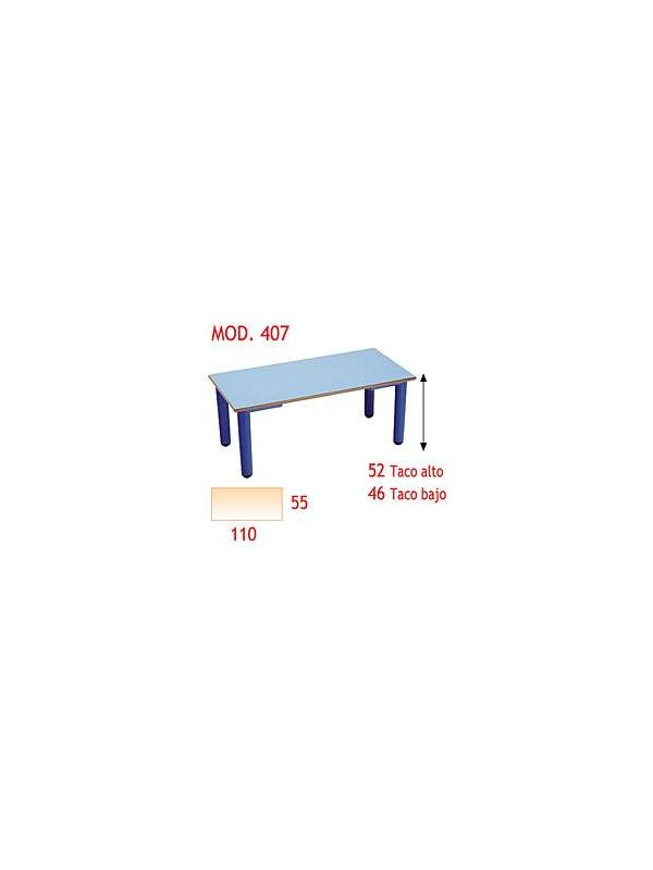 Mesa rectangular infantil - Patas de polipropileno, disponibles en 4 colores y 2 alturas. Tapa en DM laminado con cantos redondeados barnizados con poliuretano.