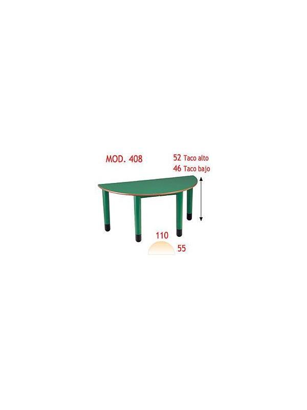 Mesa semícirculo infantil - Patas de polipropileno, disponibles en 4 colores y 2 alturas. Tapa en DM laminado con cantos redondeados barnizados con poliuretano.