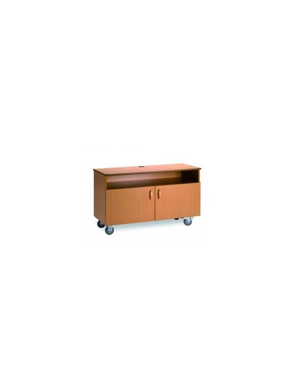 Mueble TV - Mueble de televisor  Realizado en melamina haya y estratificado.  Provisto de 2 puertas y balda.  72 x 120 x 50