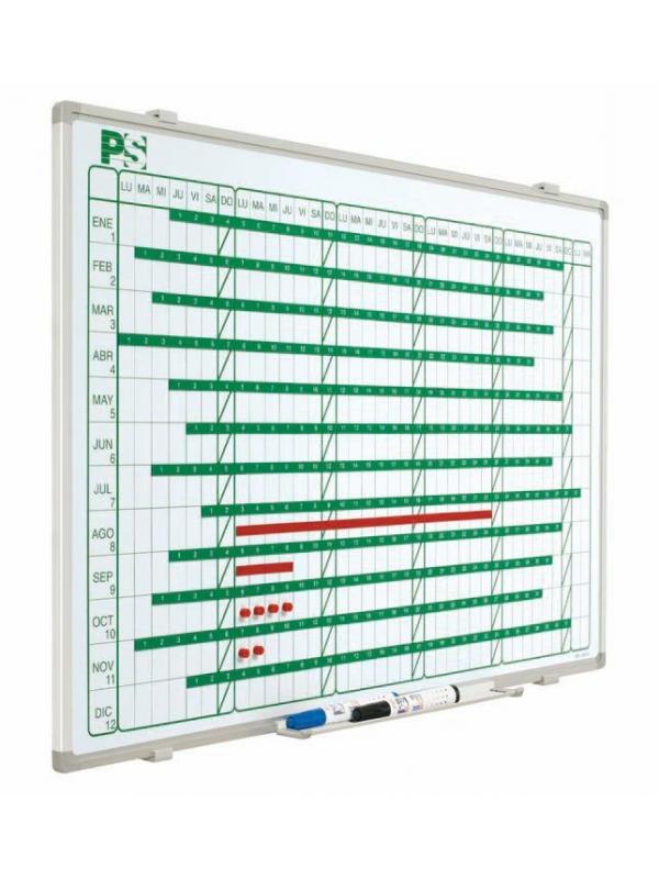 Planning mural magnético - Planning magnético Planning mural blanco serigrafiado, rotulable con rotuladores de borrado en seco, enmarcado con perfil de aluminio anodizado en color plata mate y cantoneras redondeadas grises. Incluye un cajetín reposarrotuladores de 30 cm