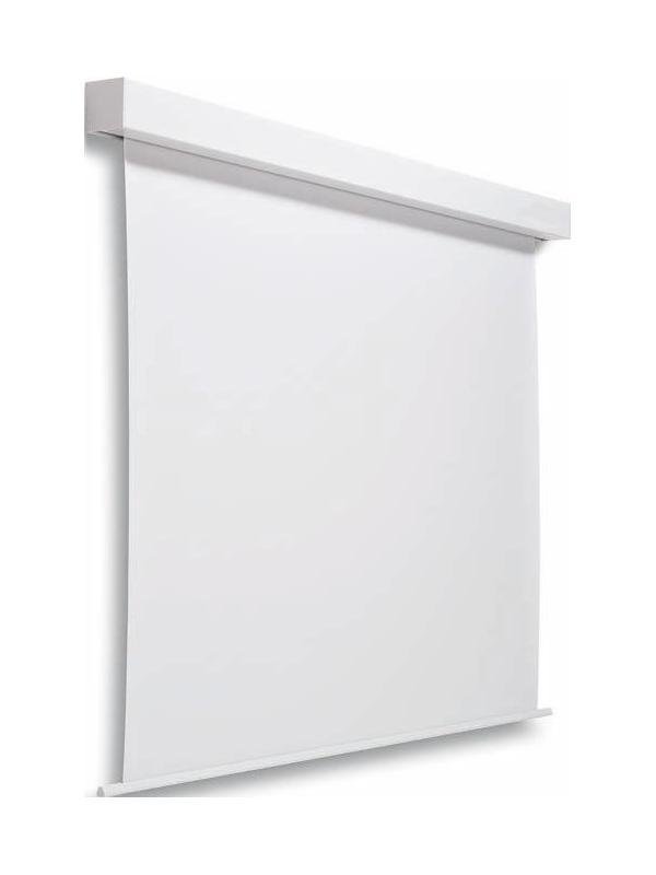 Pantalla mural eléctrica - Pantalla mural eléctrica. Pantalla mural de elevación automática por medio de un motor eléctrico adaptable a techo y pared. La carcasa está fabricada en aluminio y la tela es especial antirreflectante. El funcionamiento de la pantalla se acciona mediante un interruptor manual.