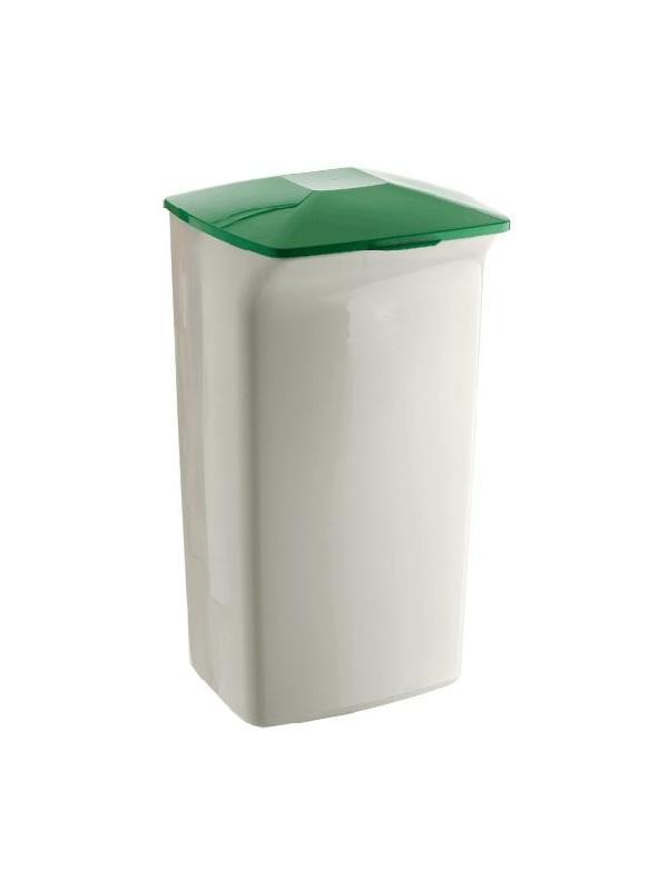 Papelera gran capacidad - Papelera Medidas:330 x 370 x 620 mm (fondo x ancho x alto) Características:Papelera rectangular de 40 litros con tapa Fabricado en polipropileno apto para uso alimentario. Ideal para reciclaje, fácil de transportar, ahorra espacio Muy útil en oficinas, tiendas, grandes almacenes…, que tienen grandes volúmenes de material para reciclaje. Muchas combinaciones posibles: tapas, carritos. Peso: 1,686 kg. Color papelera: gris. Color tapas: amarillo o verde.