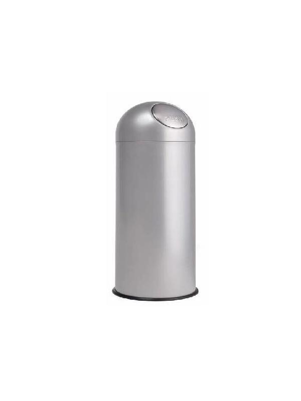 """Papelera - Papeleras container """"Push"""" Papelera container con apertura redonda tipo """"Push"""" con cierre retráctil, fabricadas en chapa pintada epoxi gris. Incorpora en su interior estructura de varilla para sujección de bolsa de plástico."""