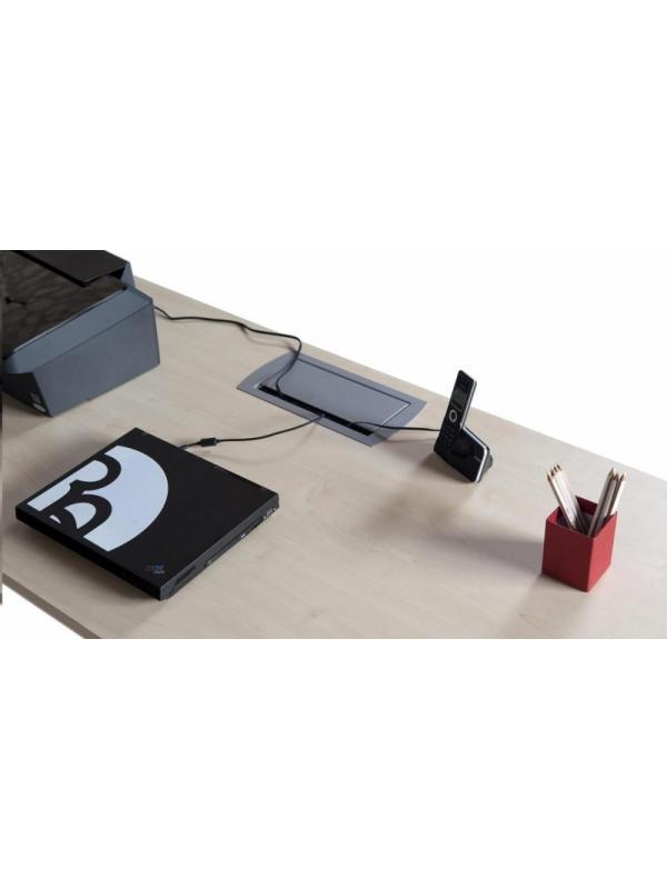 Detalle del pasacables (opcional) - Detalle del pasacables es opcional, debe solicitarlo al hacer su pedido, solo es adaptable a las mesas de oficina con tablero melaminico.