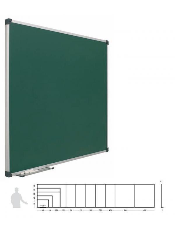 Pizarras murales verdes laminada - Pizarra mural verde laminada. Pizarra mural verde enmarcada con perfil de aluminio anodizado en color plata mate y cantoneras redondeadas de plástico gris. Superficie laminada para escritura con tiza. Incluye cajetín reposarrotuladores de 30 cm.