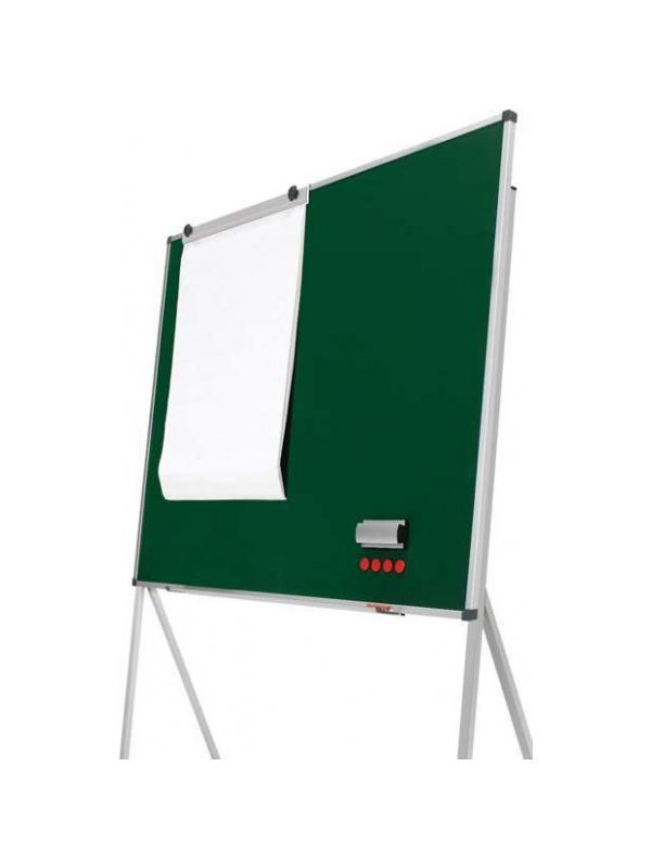 Pizarra verde delta - Pizarra verde con soporte forma triangular. Pizarra verde enmarcada con perfil de aluminio anodizado en color plata mate y cantoneras redondeadas de plástico gris. Superficie para la escritura con tiza. Soporte en forma