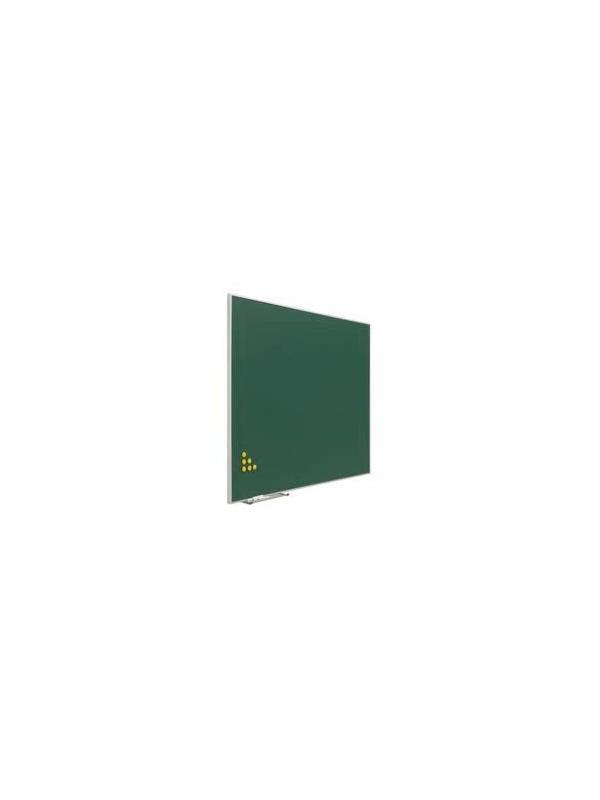 """Pizarra verde con soporte - Pizarra verde con soporte forma """"T"""" Pizarra verde enmarcada con perfil de aluminio anodizado en color plata mate y cantoneras redondeadas de plástico gris. Superficie para la escritura con tiza. Soporte en forma"""