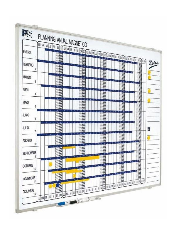 Planning anual magnético - Planning magnético Planning mural blanco serigrafiado, rotulable con rotuladores de borrado en seco, enmarcado con perfil de aluminio anodizado en color plata mate y cantoneras redondeadas grises. Incluye un cajetín reposarrotuladores de 30 cm.  Medidas: 90 x 120 x 1,5 cm (alto x ancho x fondo).