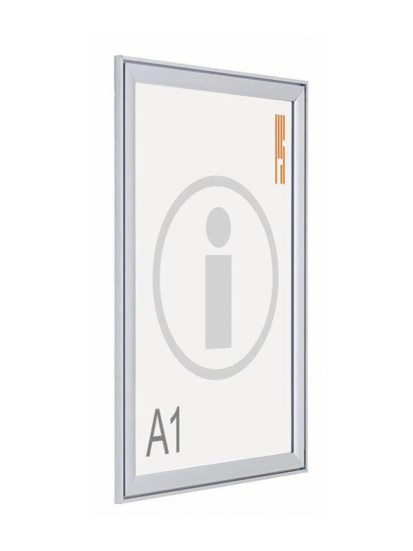 Portapósters marco abatible - Portapósters marco abatible. Sistema de presentación de pósters, con marco abatible de aluminio anodizado en plata mate a inglete, que permite la sustitución del impreso de una manera rápida y cómoda.