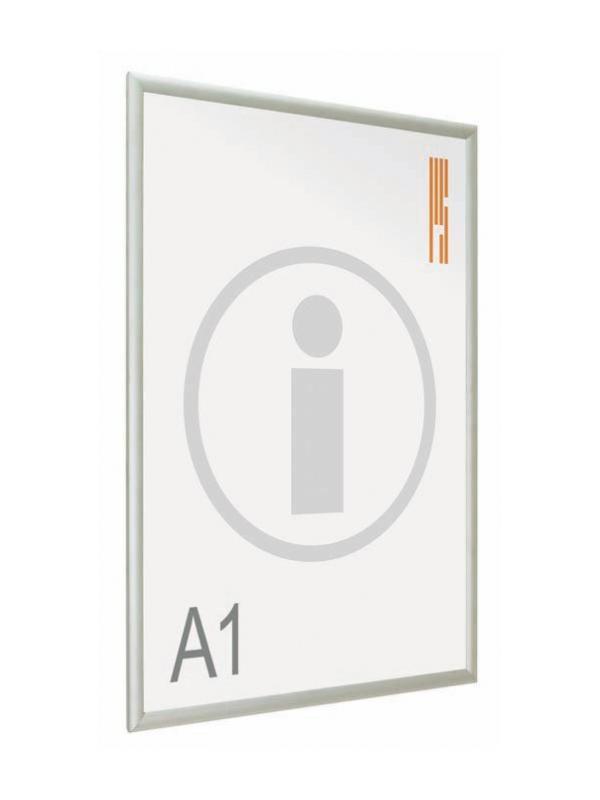 Portapósters para información o publicidad  - Portapósters marco abatible Sistema de presentación de pósters, con marco abatible de aluminio anodizado en plata mate a inglete, que permite la sustitución del impreso de una manera rápida y cómoda.