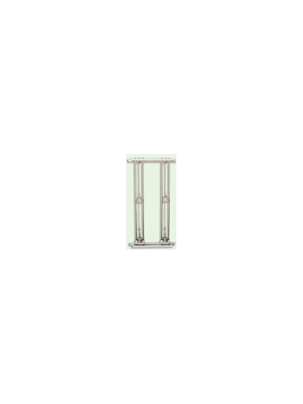 Juego de poleas - Juego de poleas de pared, circuito simple ó doble. Fabricados en Acero esmaltado epoxi. Con pesas apilables (2 de 0.5 Kg) (2 de 1 Kg) (1 de 2 Kg). Maneta de madera de haya barnizada.
