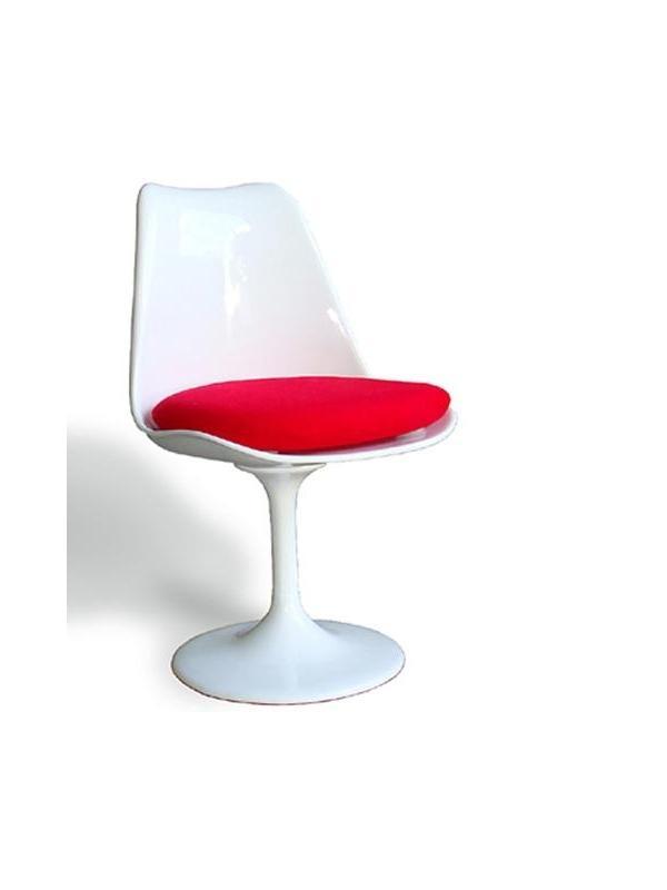 Silla de diseño - Silla de diseño, multiuso.  -Estructura de abs color blanco, giratoria. -Base de aluminio fundido acabado blanco. -Se suministra con cojín de tejido de color rojo, para el asiento.  -Mesas a juego con la silla.