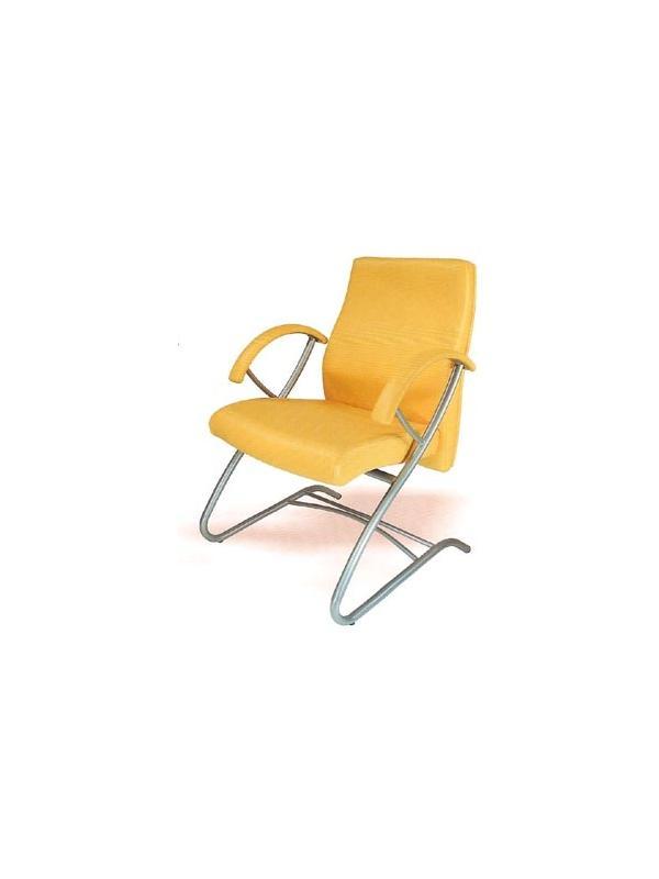 Sillón piel confidente - Sillón confidente, patin en tubo de acero, asiento + respaldo en madera posformada por alta frecuencia, goma espuma de alta densidad