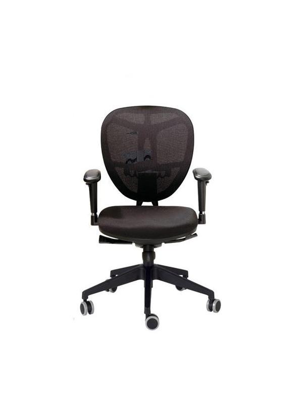 Silla de oficina - Silla de oficina Base de nylon. Brazo regulable. Rueda de Goma. Mecanismo Sincro de 5 posiciones. Brazos opcionales.