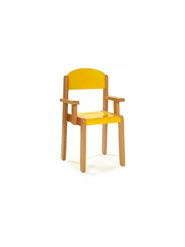 Silla - Silla infantil con brazos con estructura en madera de haya, asiento y respaldo en contrachapado lacado. Alt. 22 o 26 cm.