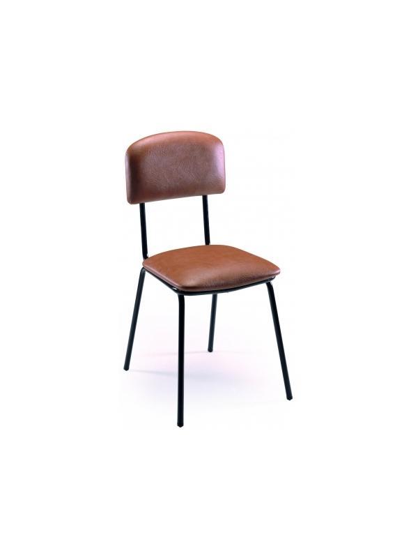 silla escolar - Silla escolar Estructura en tubo de acero 20x1,5 cromada o pintada con Epoxy-poliéster negro o verde Ral 6011. Asiento y respaldo tapizados en diversos tejidos.