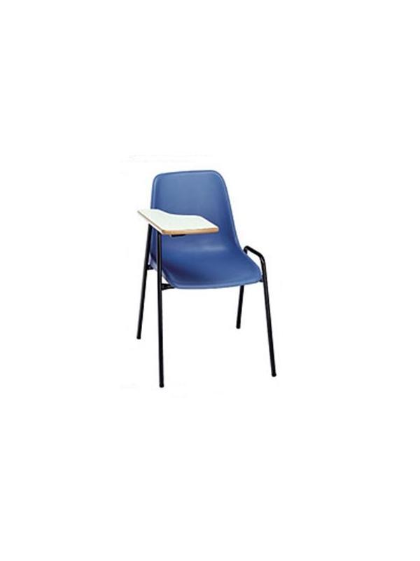 Silla con pala - Sillas con pala.  Fabricada en estructura en tubo de acero pintada o cromada .   Carcasa de polipropileno en varios colores a elegir.  Pala en laminado con cantos redondeados barnizados con poliuretano.   Pala a la derecha o a la izquierda.   Apilable.   Opcional: Rejilla porta-documentos bajo la silla(13.55 €)