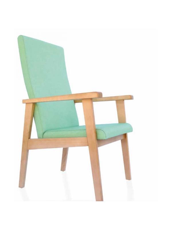 Sillón geriátrico - Sillón de geriátrico. Respaldo medio. Estructura en madera de haya maciza con cantos redondeados. Reposabrazos adelantado para un mejor apoyo. Diseño ergonómico de asiento y respaldo. Tapizado especial vinílico de alta resistencia. Combinable con nuestra colección de reposacabezas y apoyos.