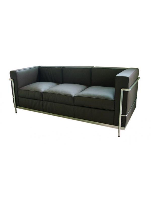 Sillón de visita - Sillón sala de espara en piel negra. Sofa de diseño, tapizado en piel de origen italiano, estructura de acero inoxidable y relleno espuma de poliuretano.
