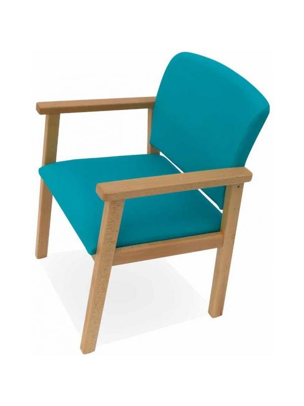 Sillón geriátrico - Sillón geriátrico Estructura en madera de haya maciza con cantos redondeados. Reposabrazos adelantado para un mejor apoyo. Diseño ergonómico de asiento y respaldo. Una opción ideal para zonas de comedor, espera o descanso.