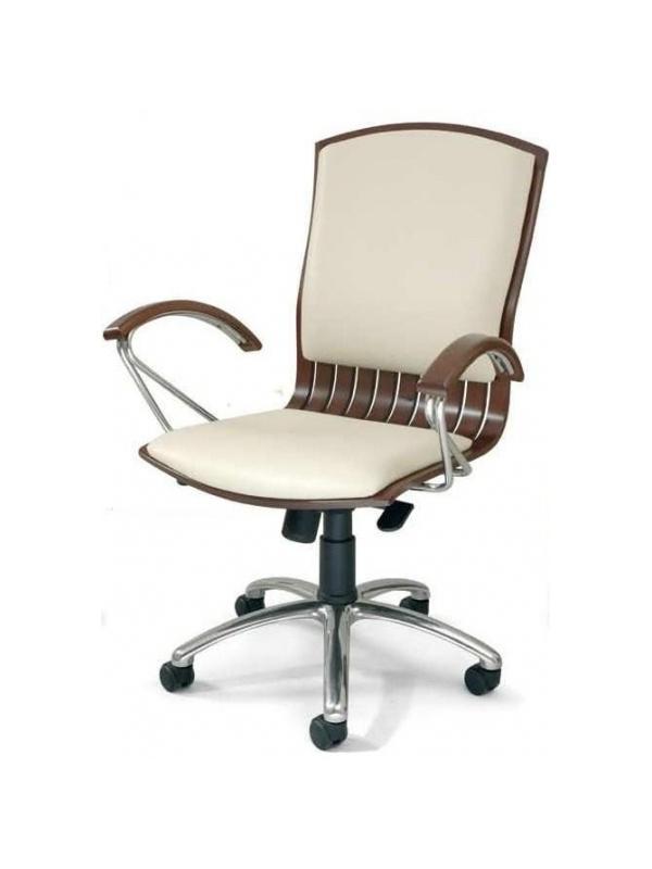 Sillón de oficina respaldo bajo - Sillón de dirección, mecanismo relax. Fabricado en madera de haya maciza, base aluminio cromado, brazos y patín combinados en madera y cromo.