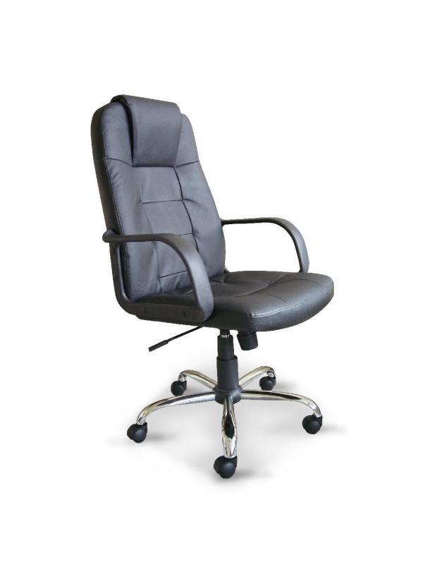 Sillón Dirección en piel - Sillón de Dirección - Sillón de asiento y reslpado en piel color negro, base cromada con ruedas de 5 radios y elevación a gas. Dimensiones de la Silla: W620 x D720 x H1100-1180 mm