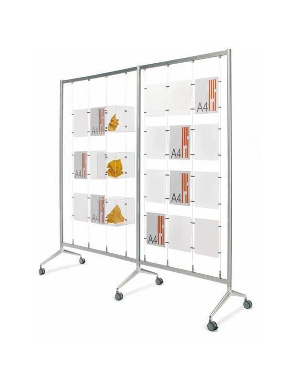 """Bastidor porta folletos móvil - Bastidor móvil. Sistema de cables sobre bastidor """"Ten"""" fabricado en aluminio anodizado y pié """"Y2"""" de fundición, provisto de ruedas o niveladores, que permite de manera rápida montar y desplazar el conjunto al espacio deseado. Ideal para escaparates, exposiciones, etc…"""