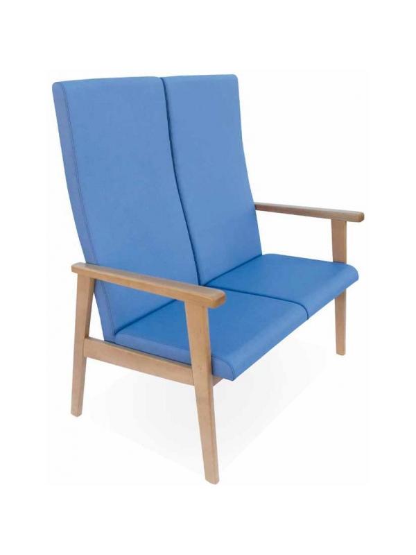 Sofá geriátrico - Sofá geriátrico. Sofá disponible en versiones de dos y tres plazas. La versión de tres plazas está reforzada con una tercera pata. Respaldos y asientos individuales por plaza.