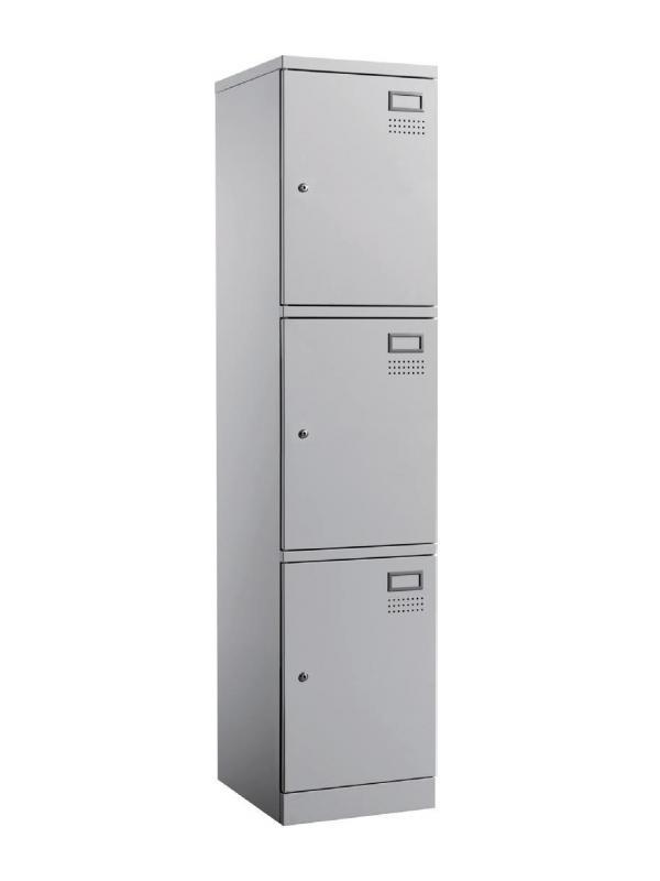 Taquilla metálica - Taquilla metálica individual con 3 compartimentos. 3 tarjeteros identificadores incluidos. Medidas exteriores: 457 x 380 x 1830 mm