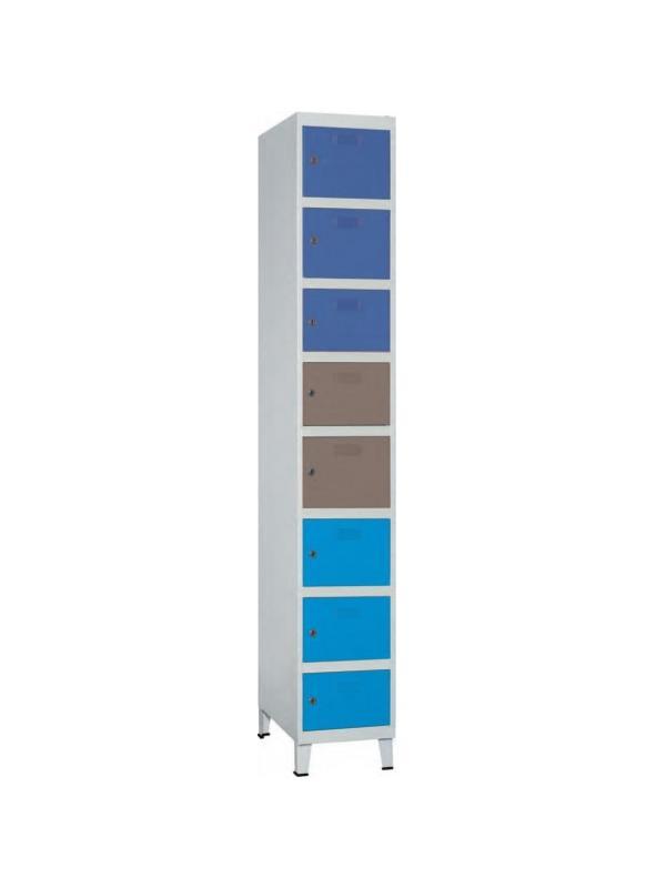 Taquilla modular - Taquilla modular Incluye patas No recomendable para espacios húmedos Gran resistencia Cerradura de llave Taquilla metálica. Pintada en epoxi Cuerpo gris, puerta azul. Servicio rápido Etiquetero y rosetas de ventilación.