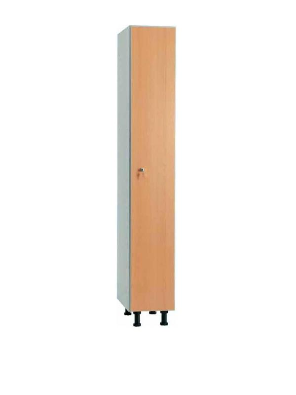 Taquilla melamina - • Módulos simples fabricados en melamina de 16 mm. • Trasera en tablex perforado y totalmente enmarcada. • Cuerpo y puertas canteadas en PVC color gris plata. • Cerradura de resbalón con bombillo extraíble. • Pies en PVC graduables en altura de 10 a 15 cms. • Placa de numeración incluida.