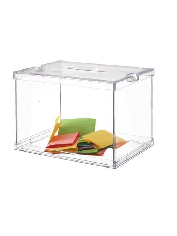 Urna electoral - Urna electoral.Modelo oficial. Medidas:310 x 440 x 335 mm (fondo x ancho x alto) Características:Plegable Incluye 2 precintos de seguridad. Color transparente.
