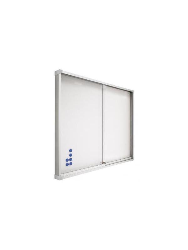 Vitrina de anuncios- Gris magnética con puertas correderas - -Espacio interior 1,2 cm. -Cristal de metacrilato de 0,5 cm. de grosor. -Incluye cerradura y juego de llaves. -100 x 120 (foto y precio) -Disponible en:60x80 - 80x100 y 100 x150x175x200.