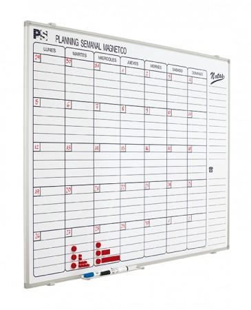 Planning mural magnético - Planning mural magnético semanal. Planning blanco serigrafiado, rotulable con rotuladores de borrado en seco, enmarcado con perfil de aluminio anodizado en color plata mate y cantoneras redondeadas grises. Incluye un cajetín reposarrotuladores de 30 cm.  Medidas: 90 x120 x 1,5 cm (alto x ancho x fondo)