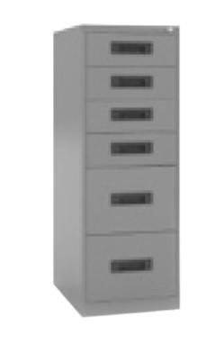 Archivador 6 cajones - - Archivador monobloque en chapa metálica espesor 0.8 mm - Incluye 2 cajones carpetas colgantes tamaño folio y 4 cajones para fichas de 12.5x18.5 cm - Ancho 47 x 65 fondo x 132 alto - Admite todos los tamaños de carpetas colgantes (A4 , folio y folio prolongado) - Sistema antivuelco - Cerradura centralizada