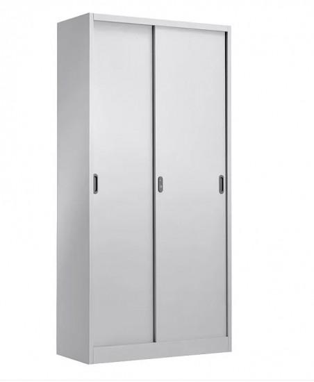 Armario metálico con puertas correderas. - Armario metálico de puertas correderas  4 estantes regulables en altura. Se suministra con cerradura y 2 llaves. Incorpora asa que facilita la apertura de la puerta. Bisagras ocultas. Medidas exteriores: 400 x 900 x 1850 mm Acabado con pintura secada al horno de color gris claro - Ral 7035. Material desmontado.