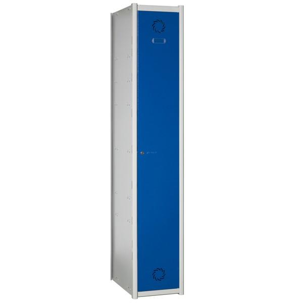 Taquilla modular - • Puerta con refuerzo longitudinal. • Dispone de bandeja y colgador para perchas. • Ancho de puerta a elegir entre 30 o 40 cm. • Color de puertas a elegir entre gris o azul, cuerpo siempre gris. • Se envían desmontadas.